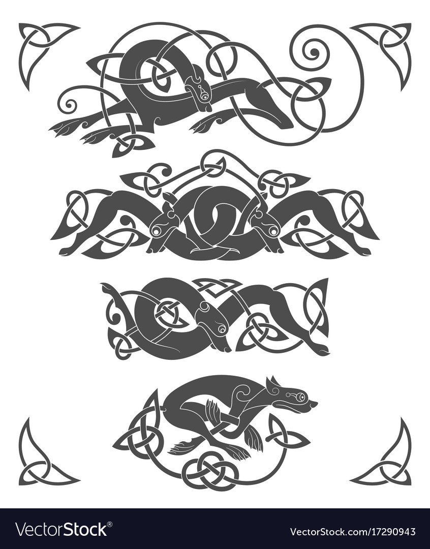 Ancient Celtic Mythological Symbol Of Wolf Dog Vector Image