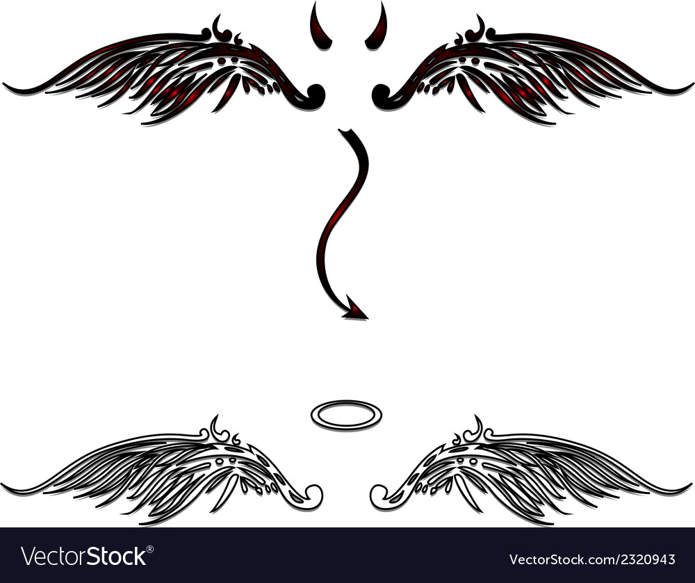 Angel and devil wings vector image