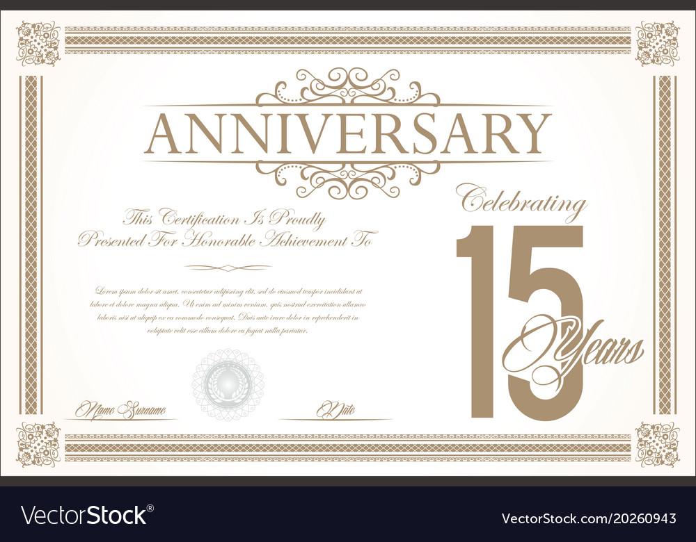 Anniversary retro vintage background 15 years vector image