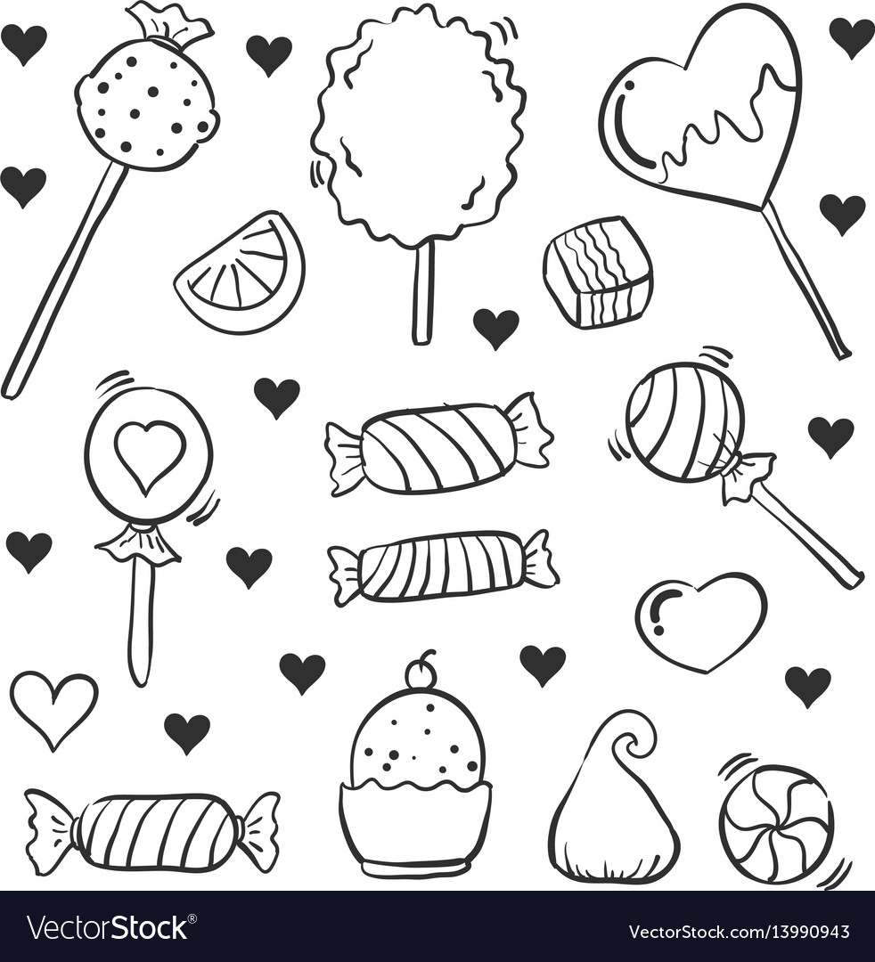 Candy various style hand draw doodles