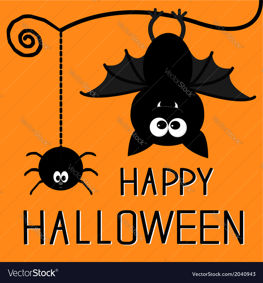 Cute bat and hanging spider Happy Halloween card Vector Image