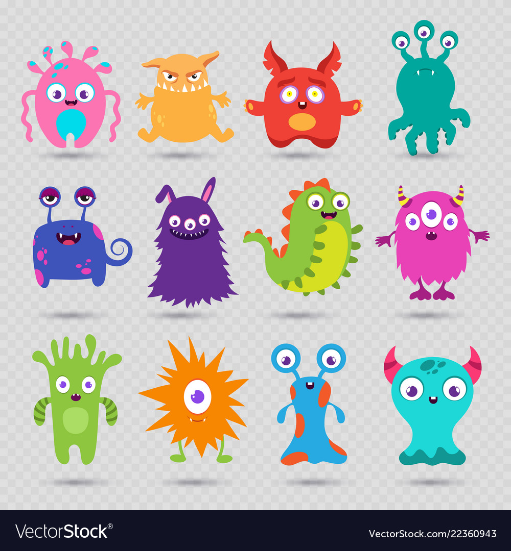 Cute cartoon baby monsters isolated on