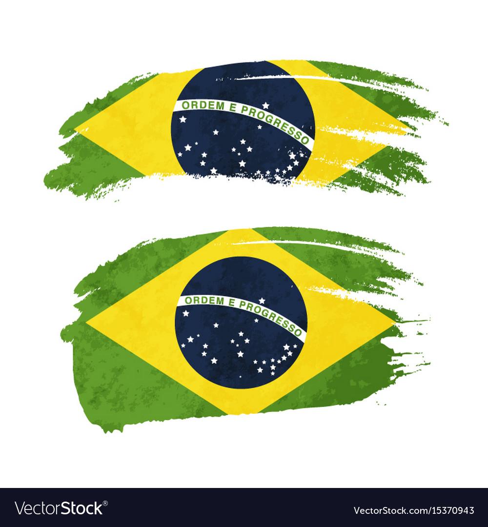 Grunge brush stroke with brazil national flag on vector image
