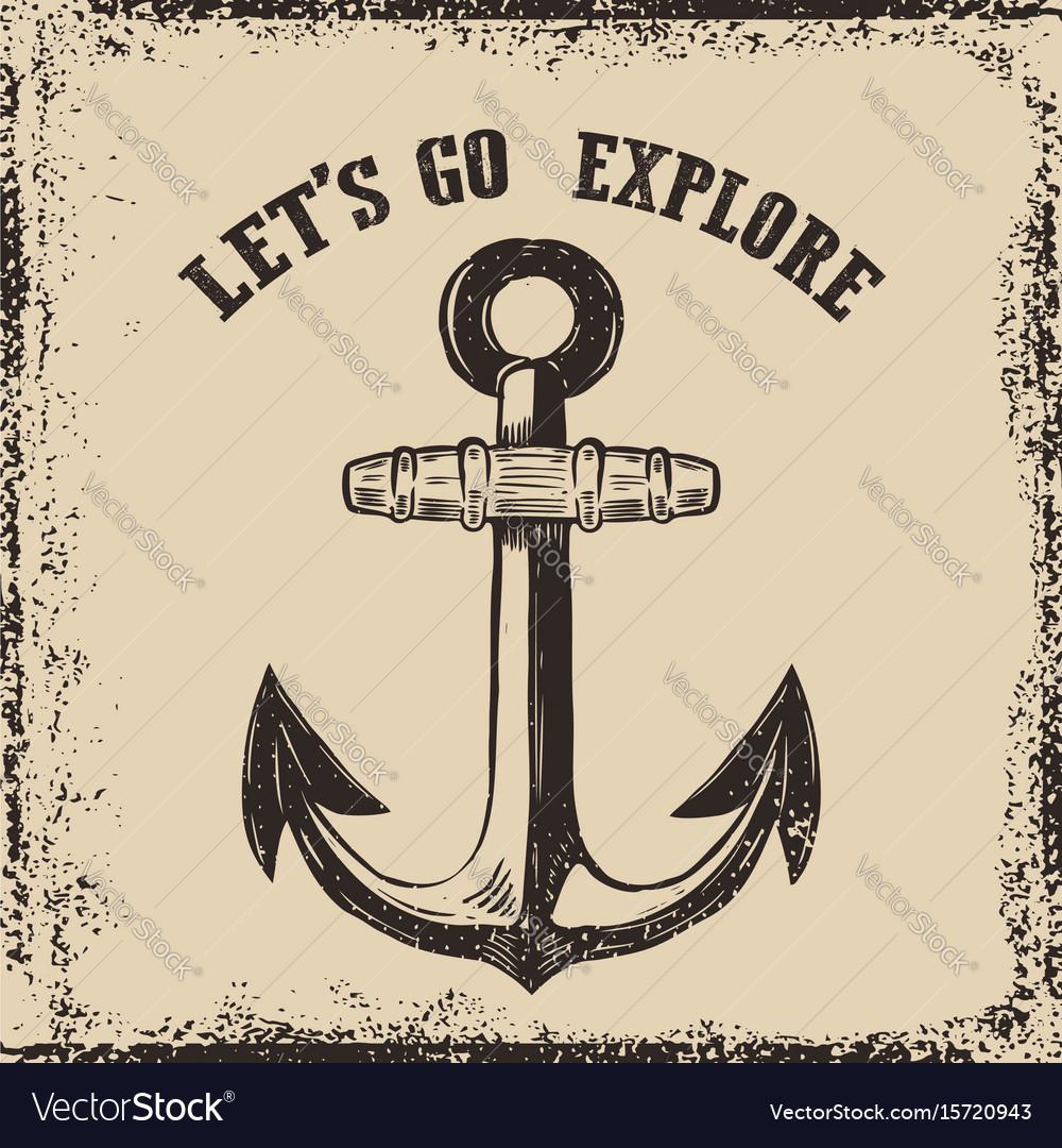 Hand drawn anchor on grunge background design