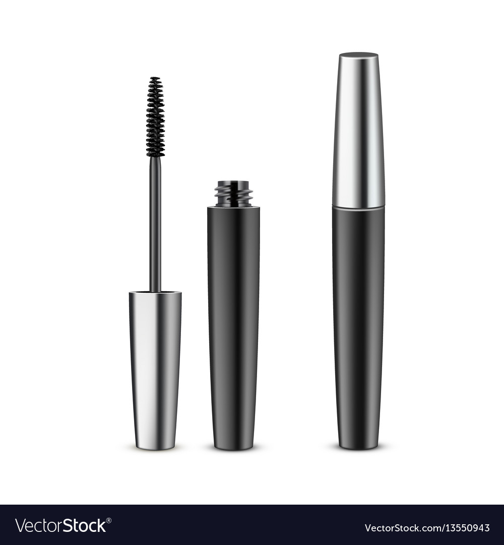 abf6470d005 Opened closed black mascara in metallic tube Vector Image