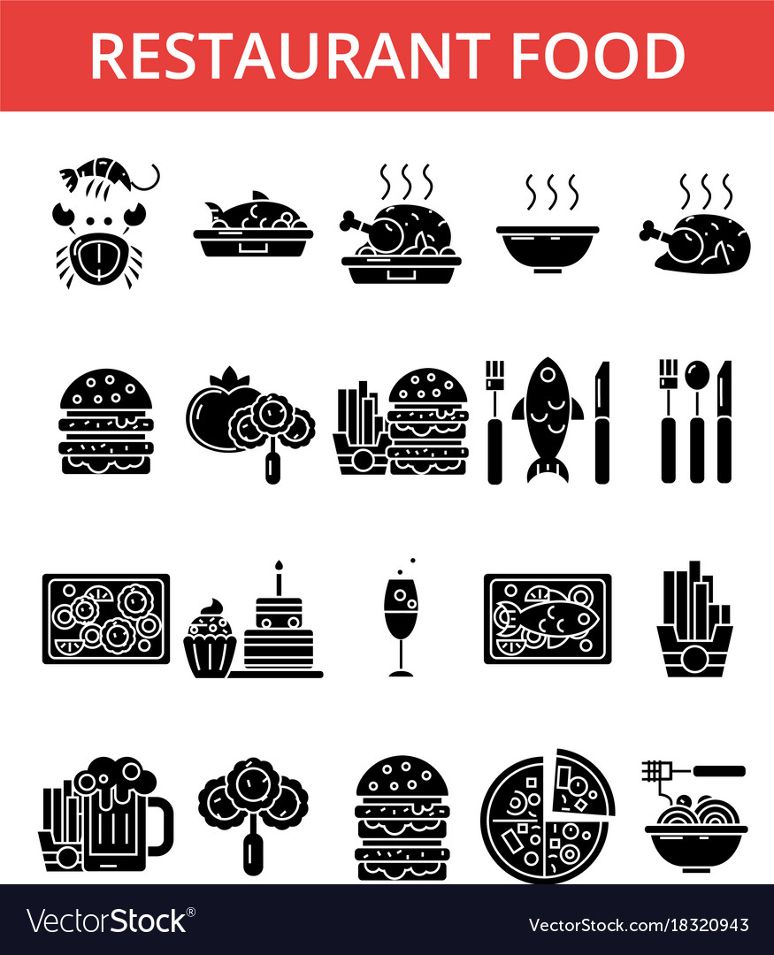 Restaurant thin line icons linear