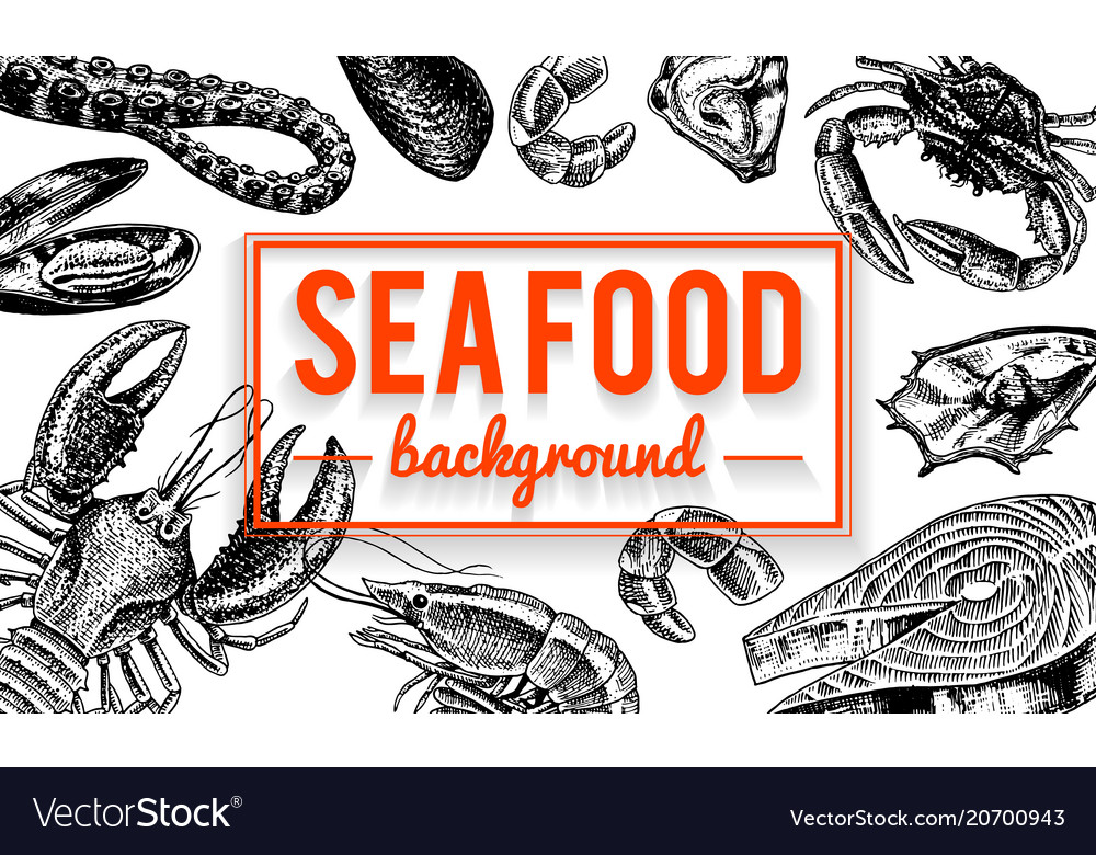 Seafood background crustaceans shrimp lobster