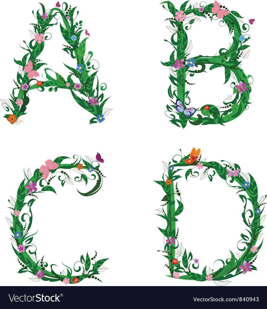 Summer Floral Letters Royalty Free Vector Image