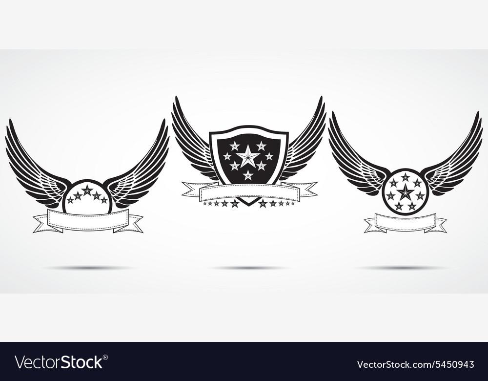 Wing abstract emblem set logo template badge label