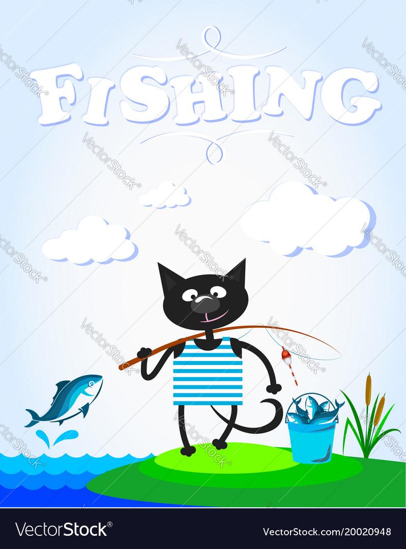 Cat on fishing fun