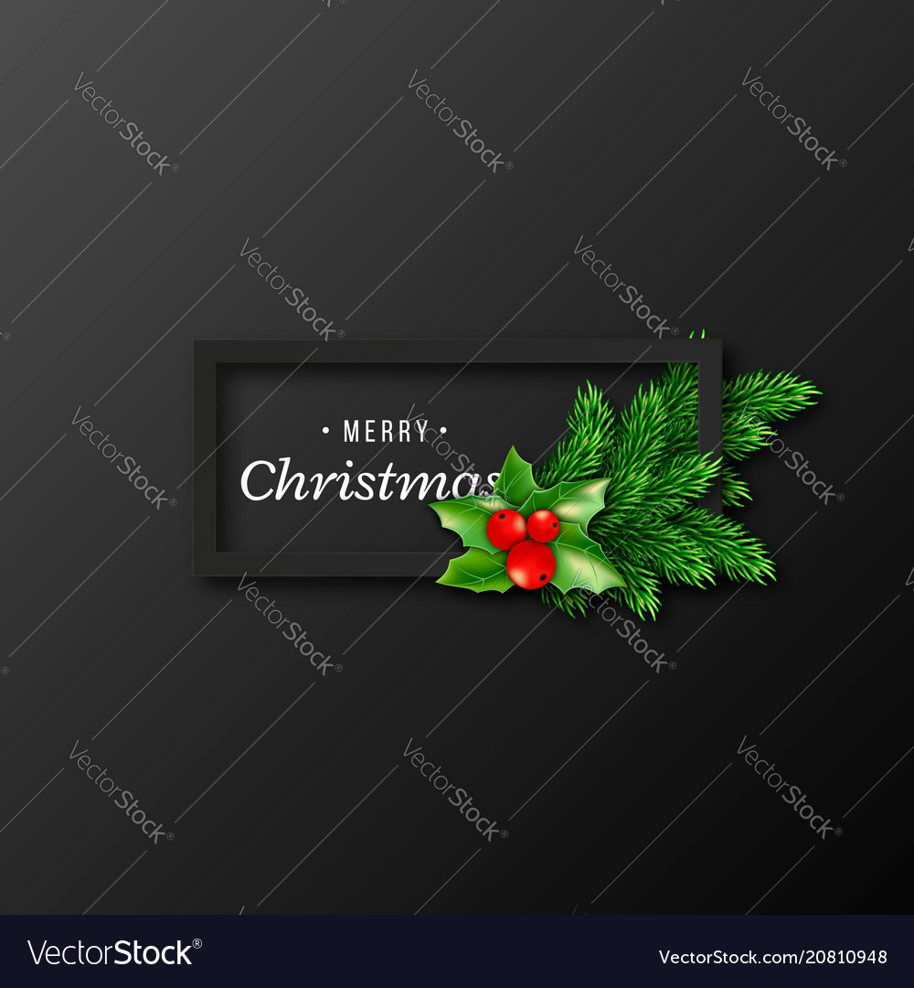 Christmas design realistic black frame vector
