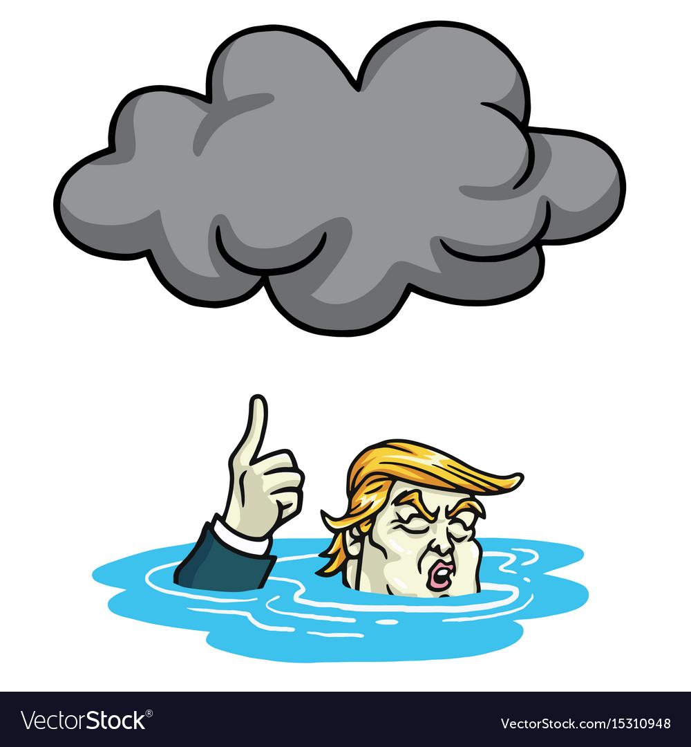 Donald trump under the black cloud smog cartoon