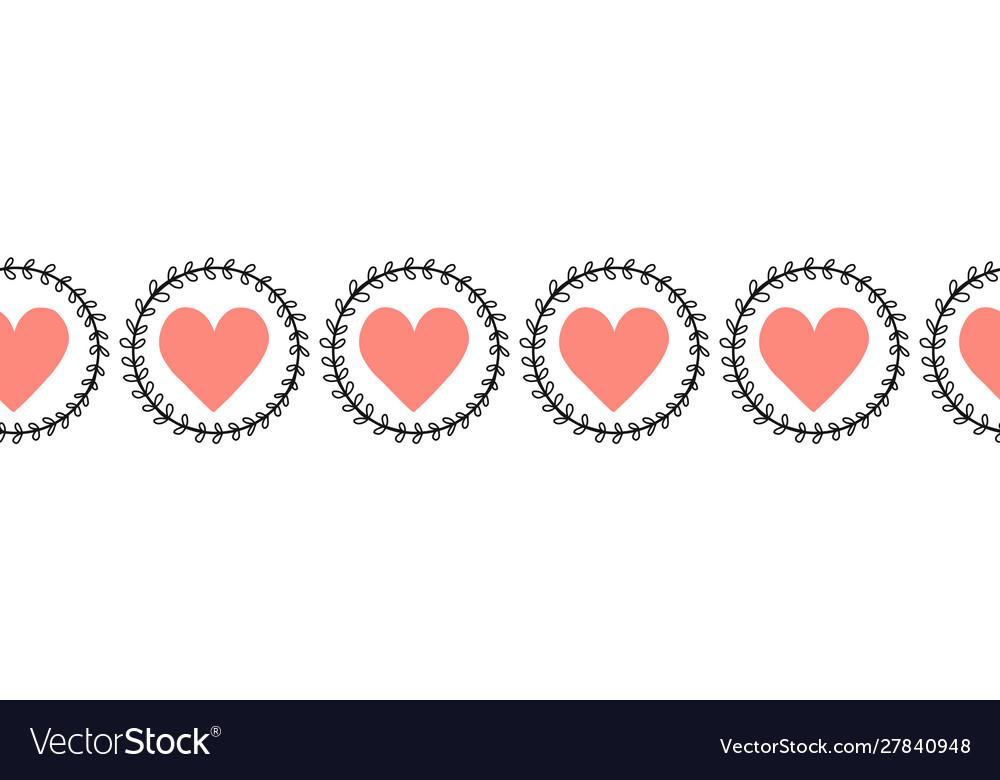 Doodle hearts seamless border hand drawn