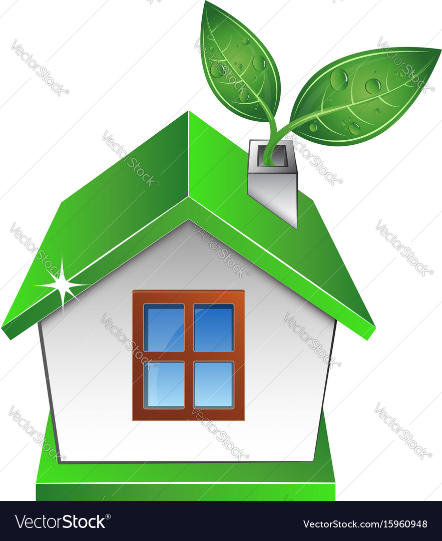 Eco house with a green leaf vector image