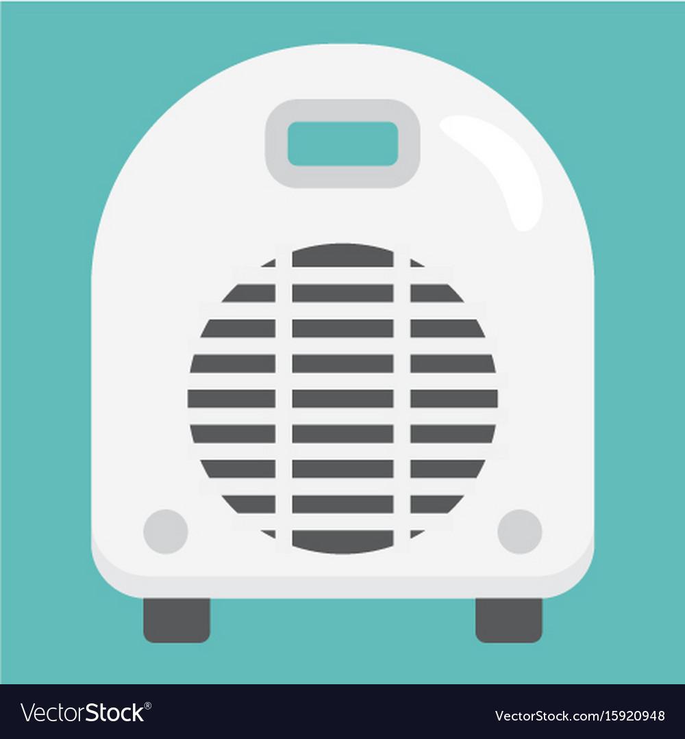 Electric fan heater flat icon household appliance