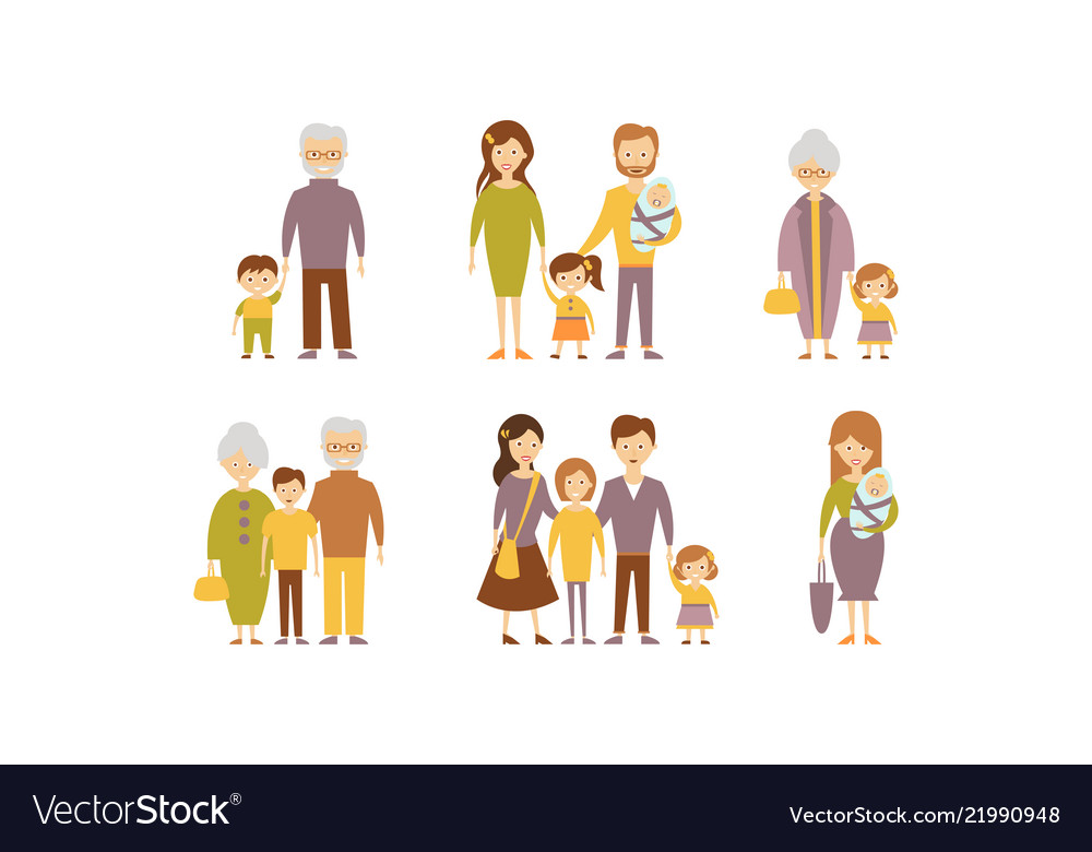 Flat set of families parents with kids