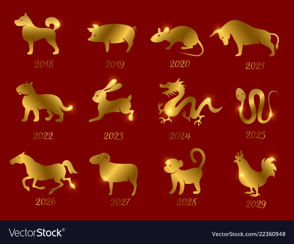 Gold chinese horoscope zodiac animals