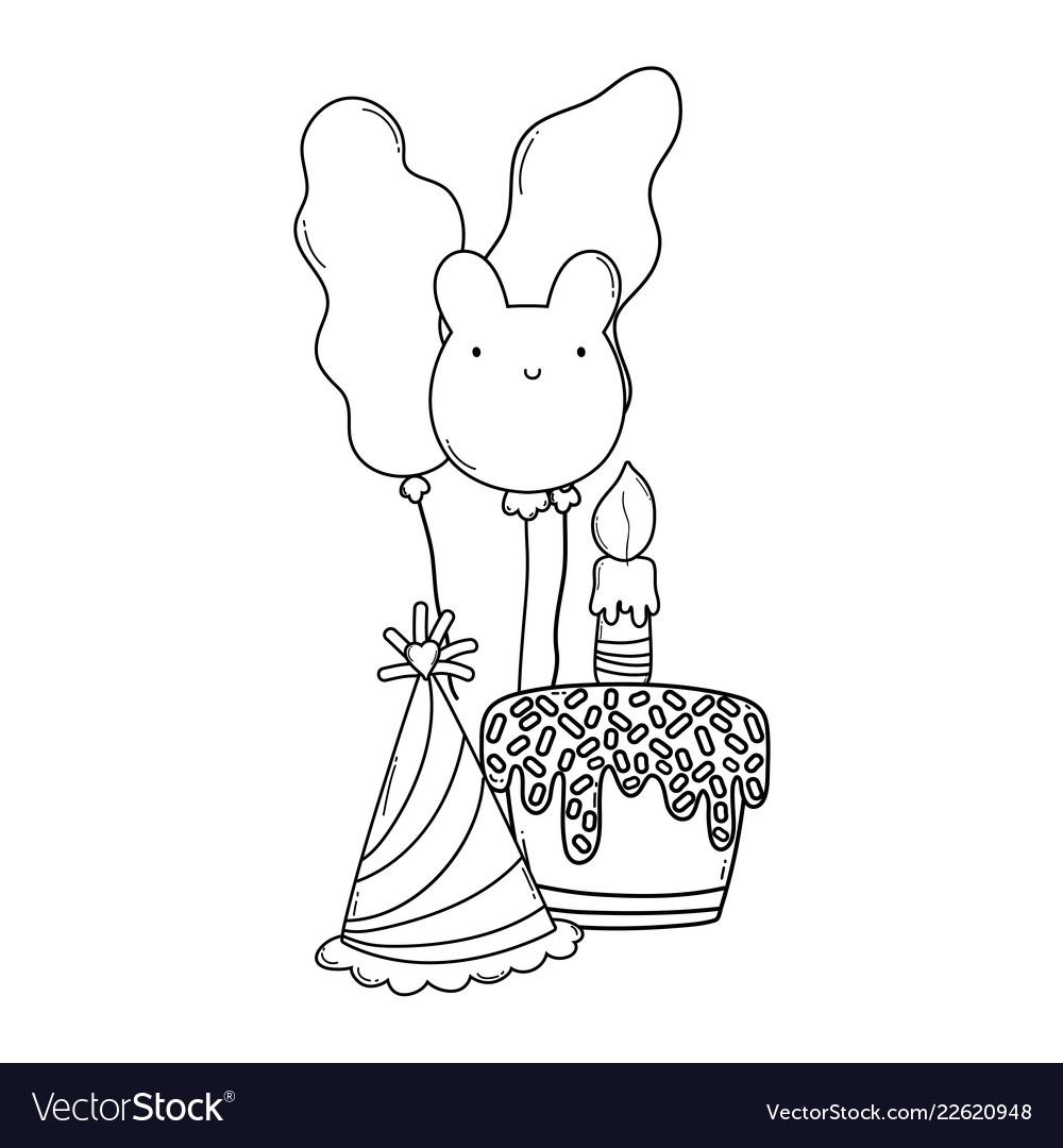Happy Birthday Cartoons Black And White Vector Image