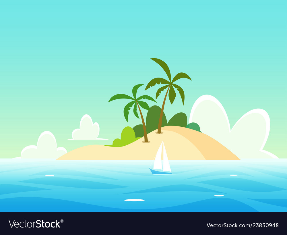 Landscape with tropical island - scenic