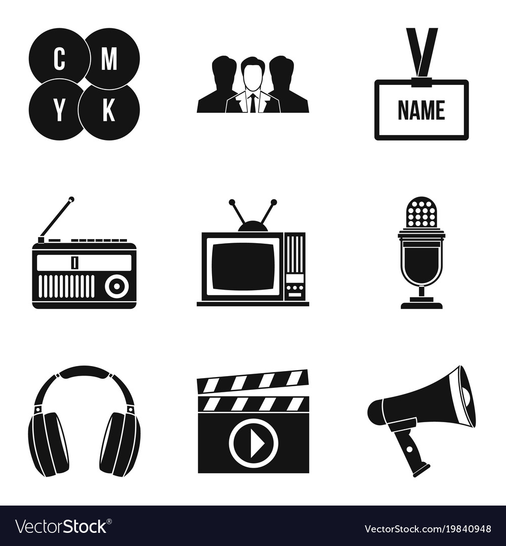 Mass media icons set simple style