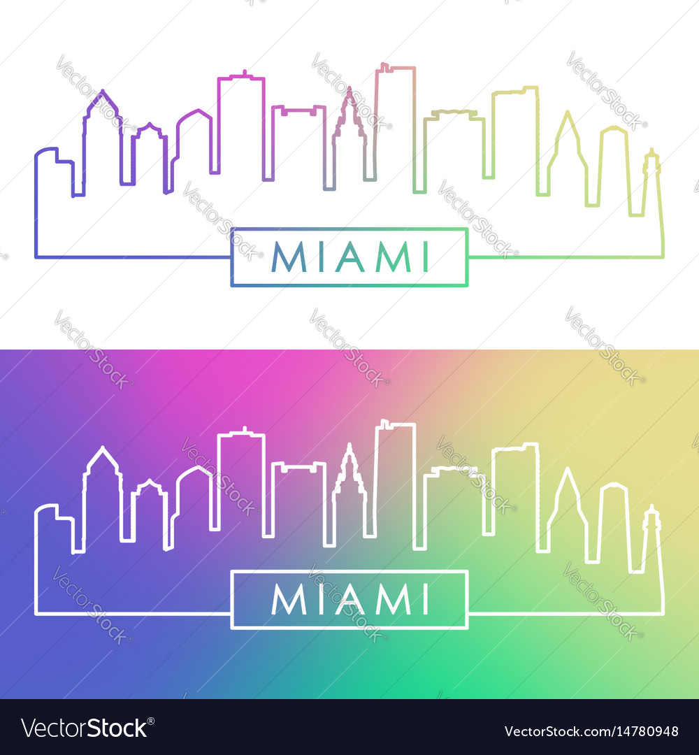 Miami skyline colorful linear style vector image