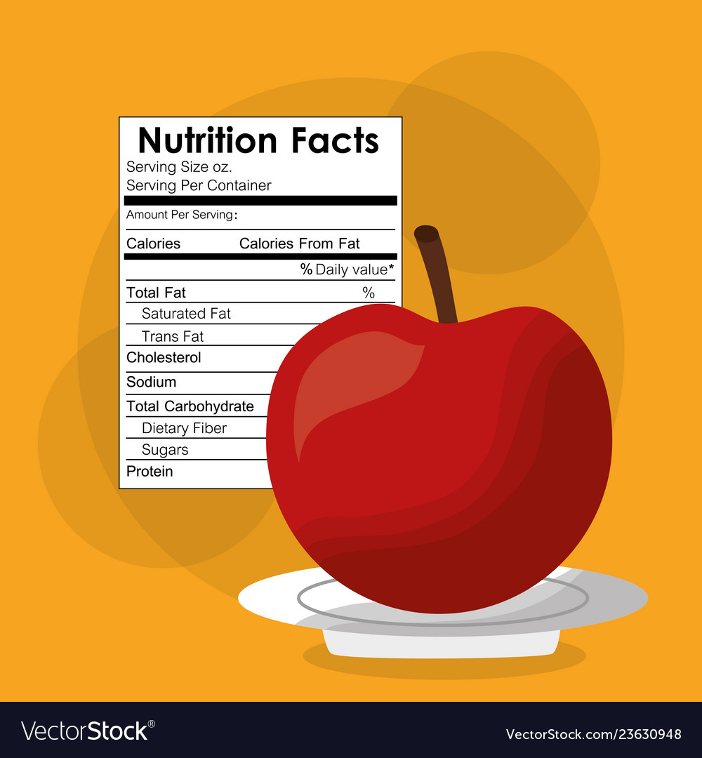 Nutrition Facts Of Apple Fruit Label Content Vector Image