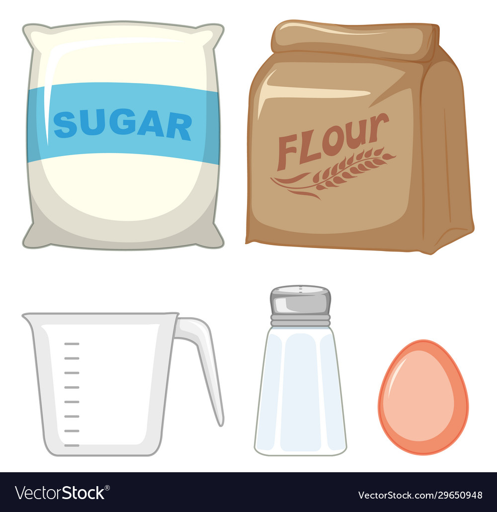 set bakery ingredients with sugar and flour vector image vectorstock