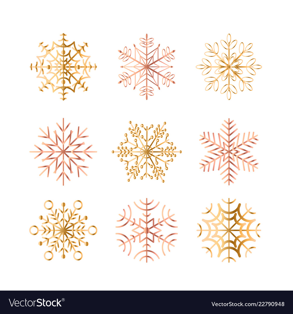 Set golden snowflakes on