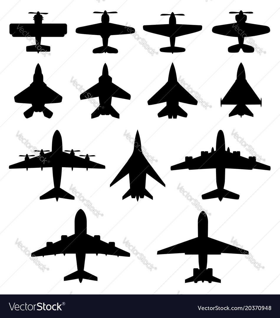 Set of black airplanes