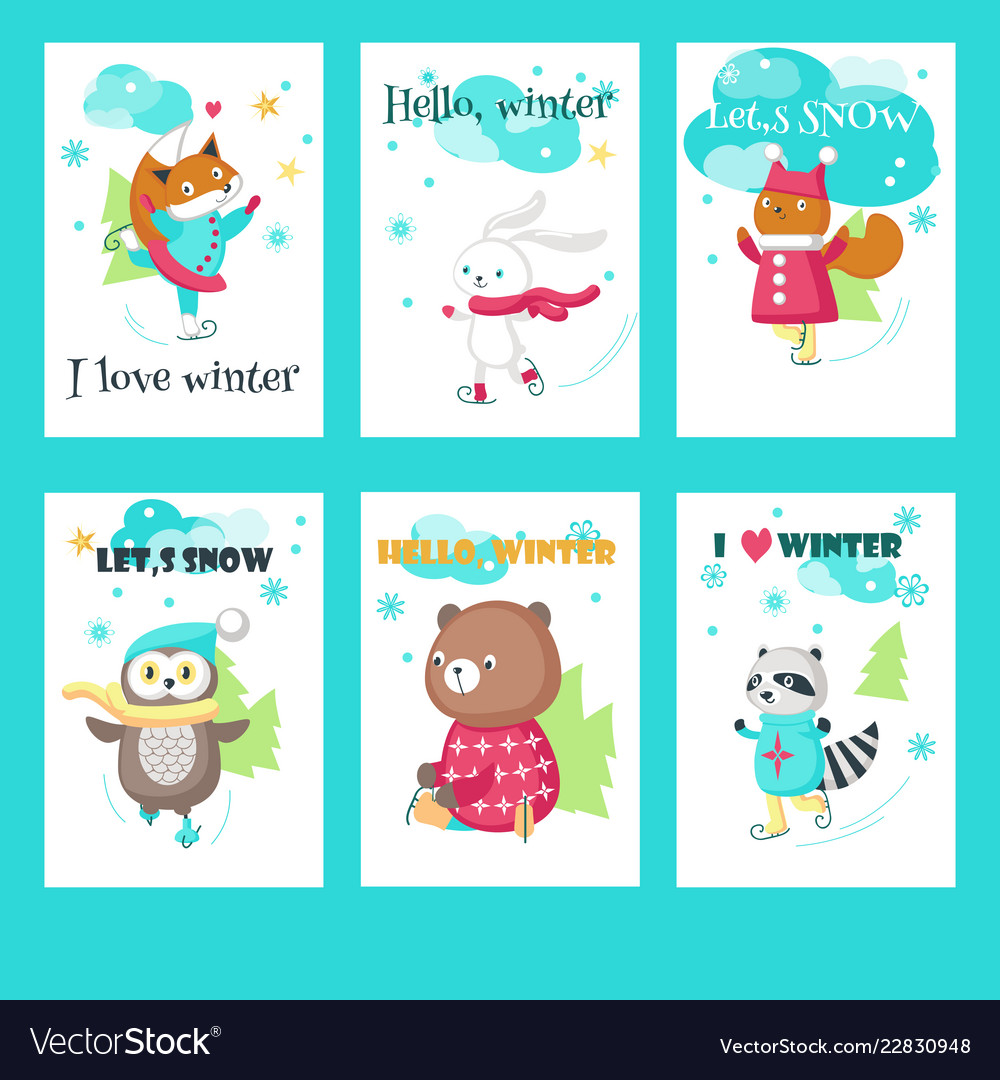 Set of cards with cute ice skating animals