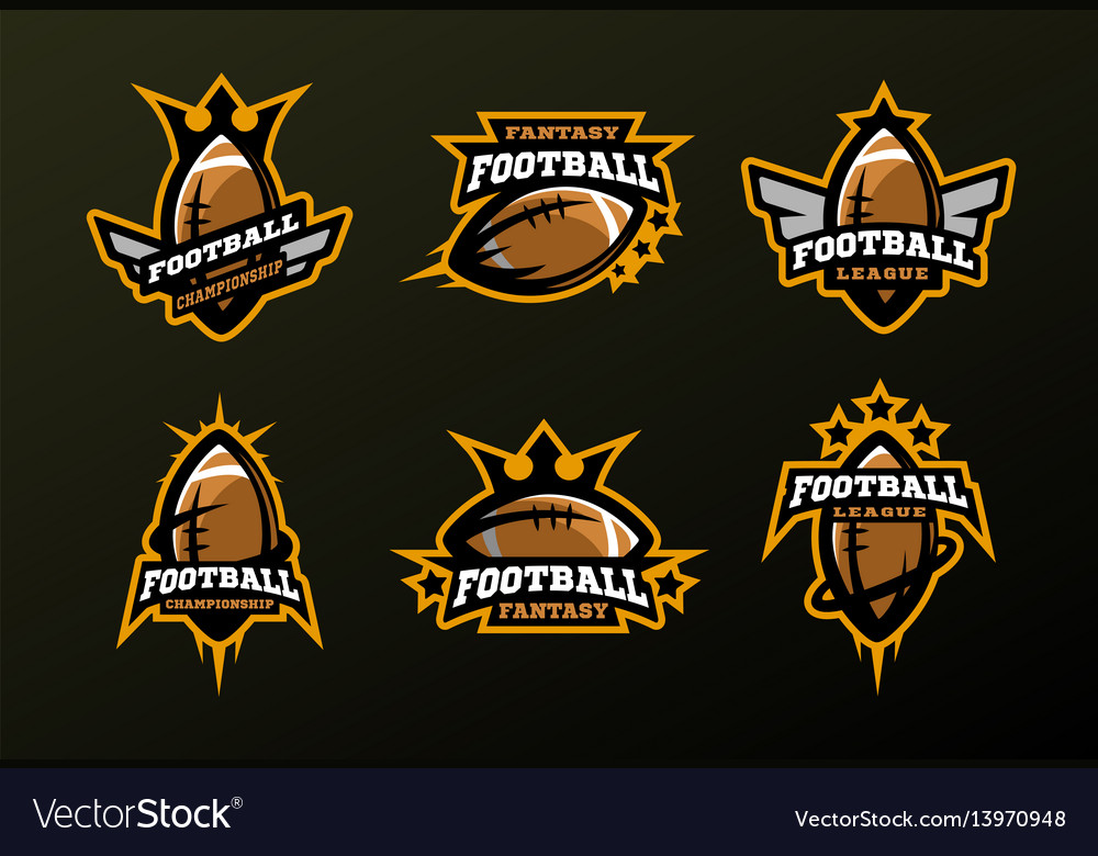 Set sports logos games in american football