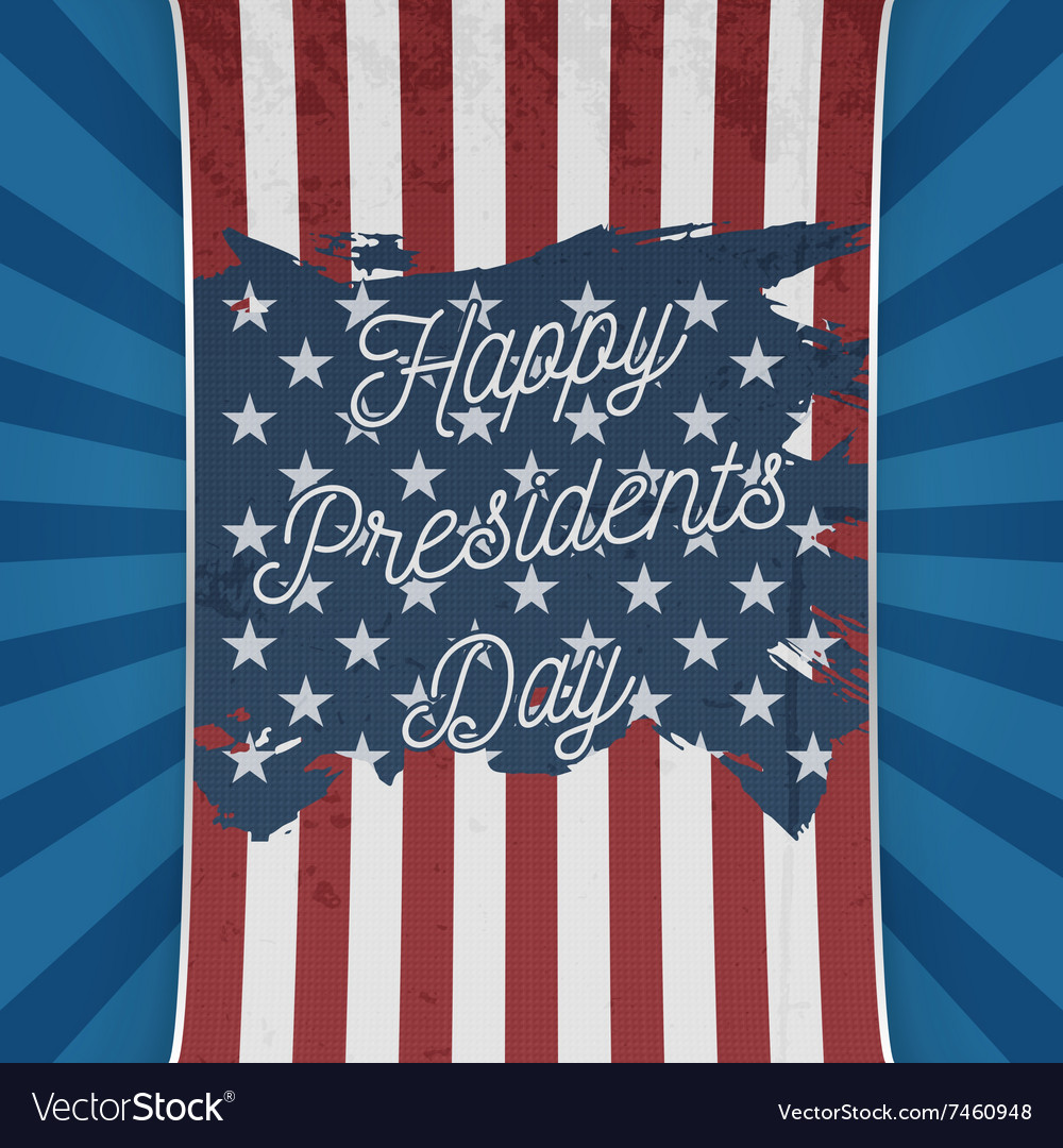 USA national Flag with Happy Presidents Day Text vector image