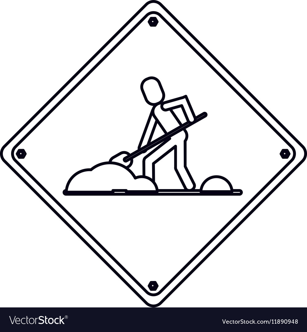Warning under construction repair sign outline vector image