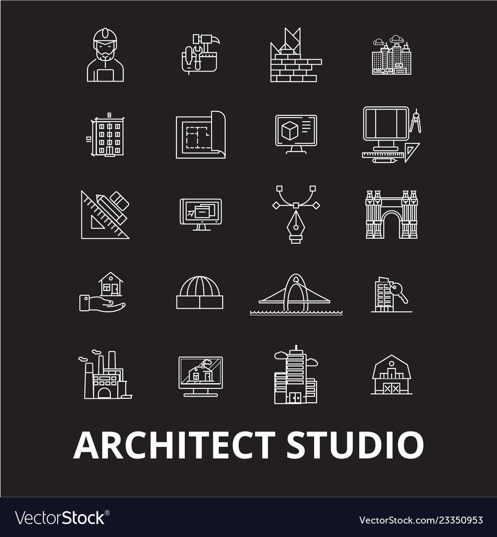 Architect studio editable line icons set on