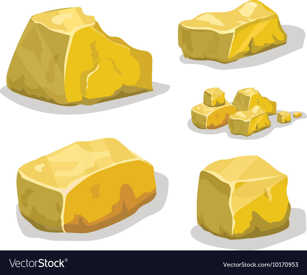 Cartoon golden ore or stone for game design Set