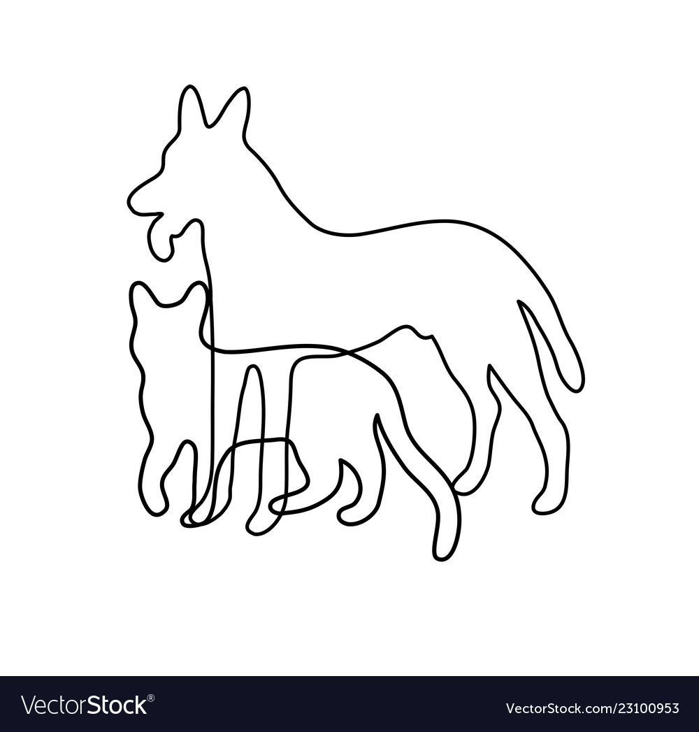 Cat and dog line art