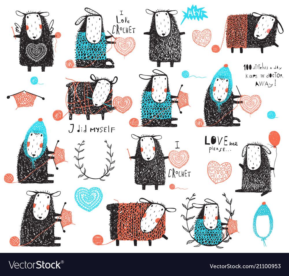 Craft knit and crochet cute sheep bundle