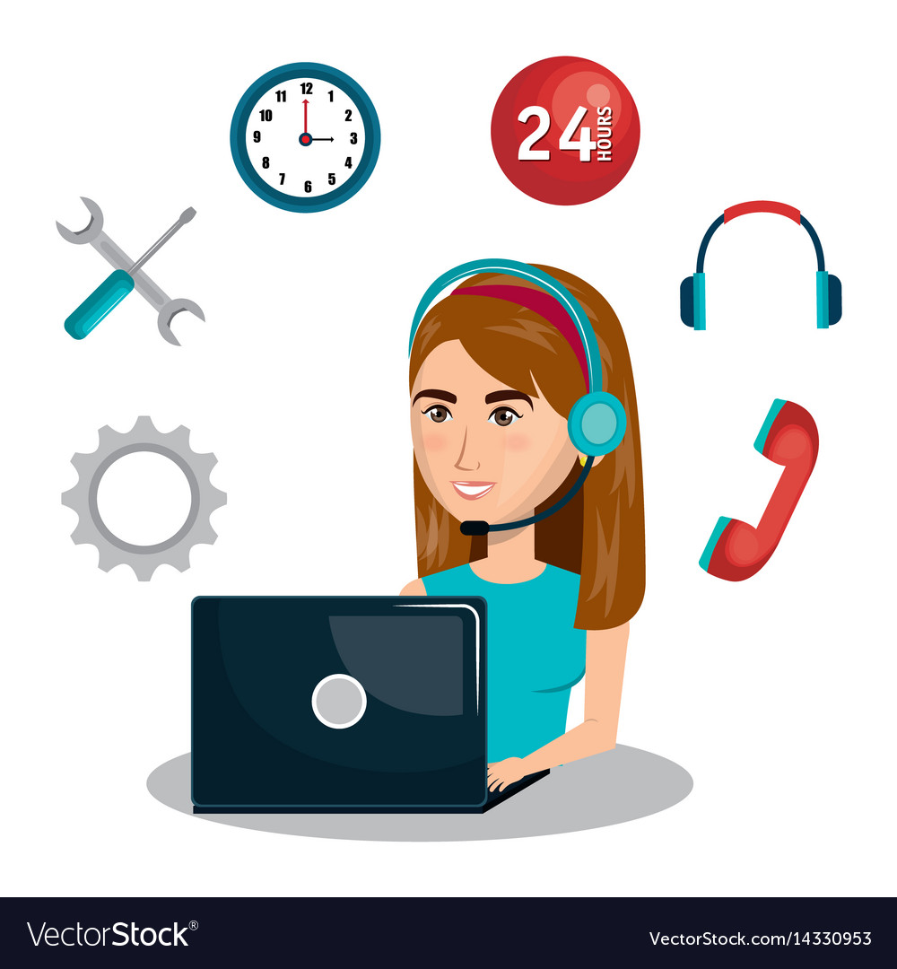d4c92f8f3786fc Customer service agent working online Royalty Free Vector