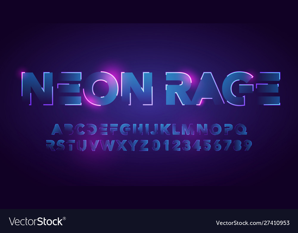 Futuristic neon font urban technology typography