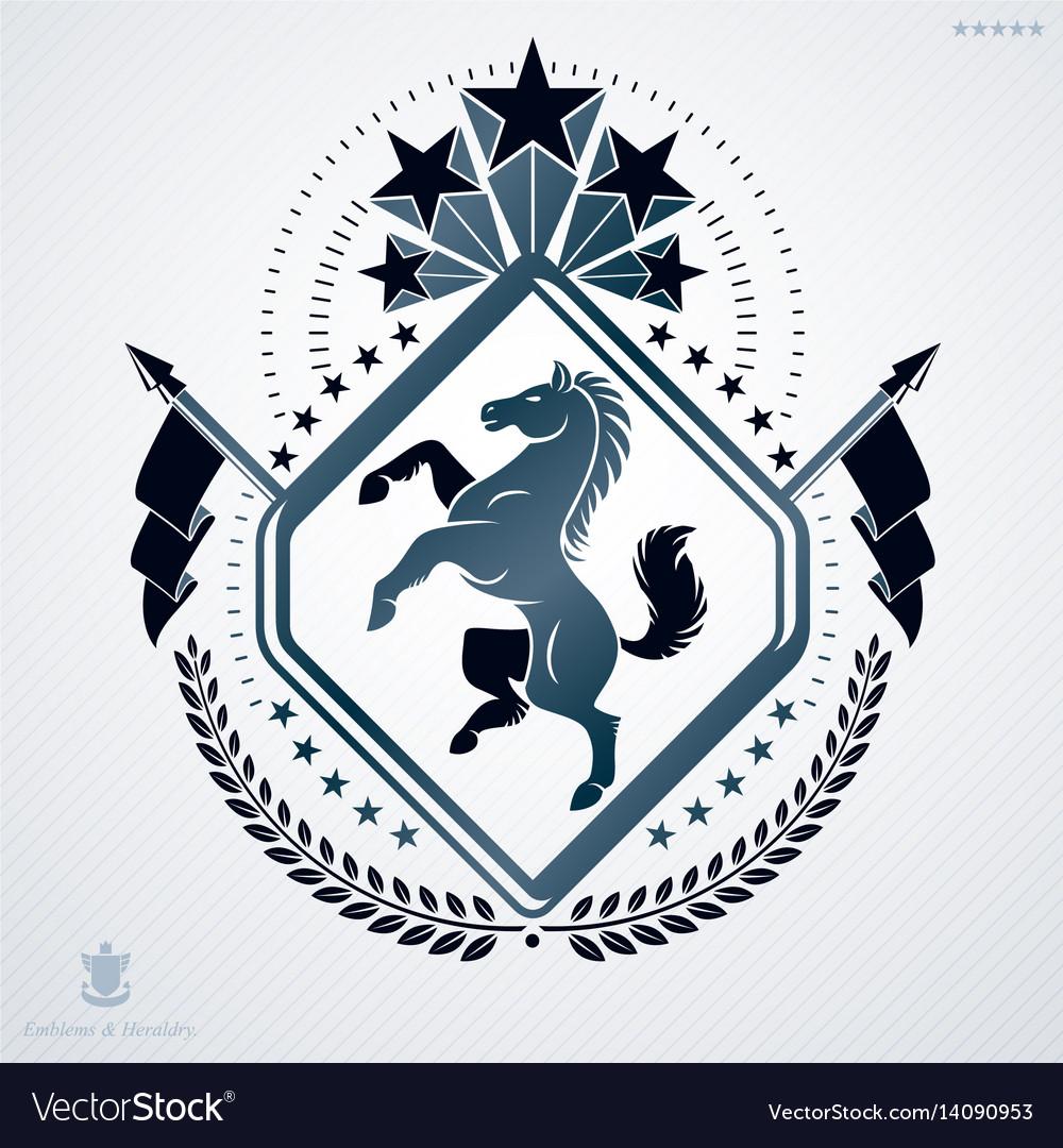 Luxury heraldic emblem template made using horse