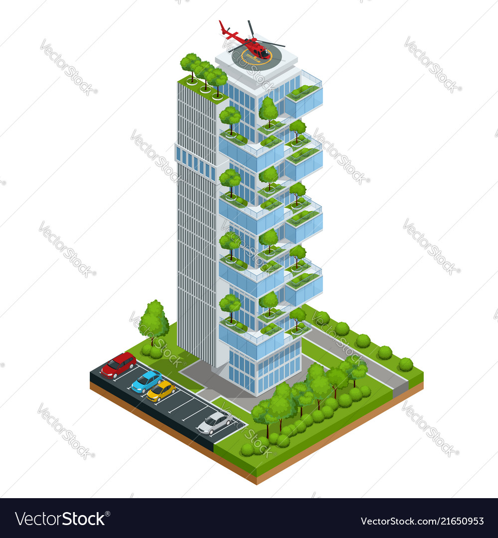 Modern ecologic skyscraper with many trees on