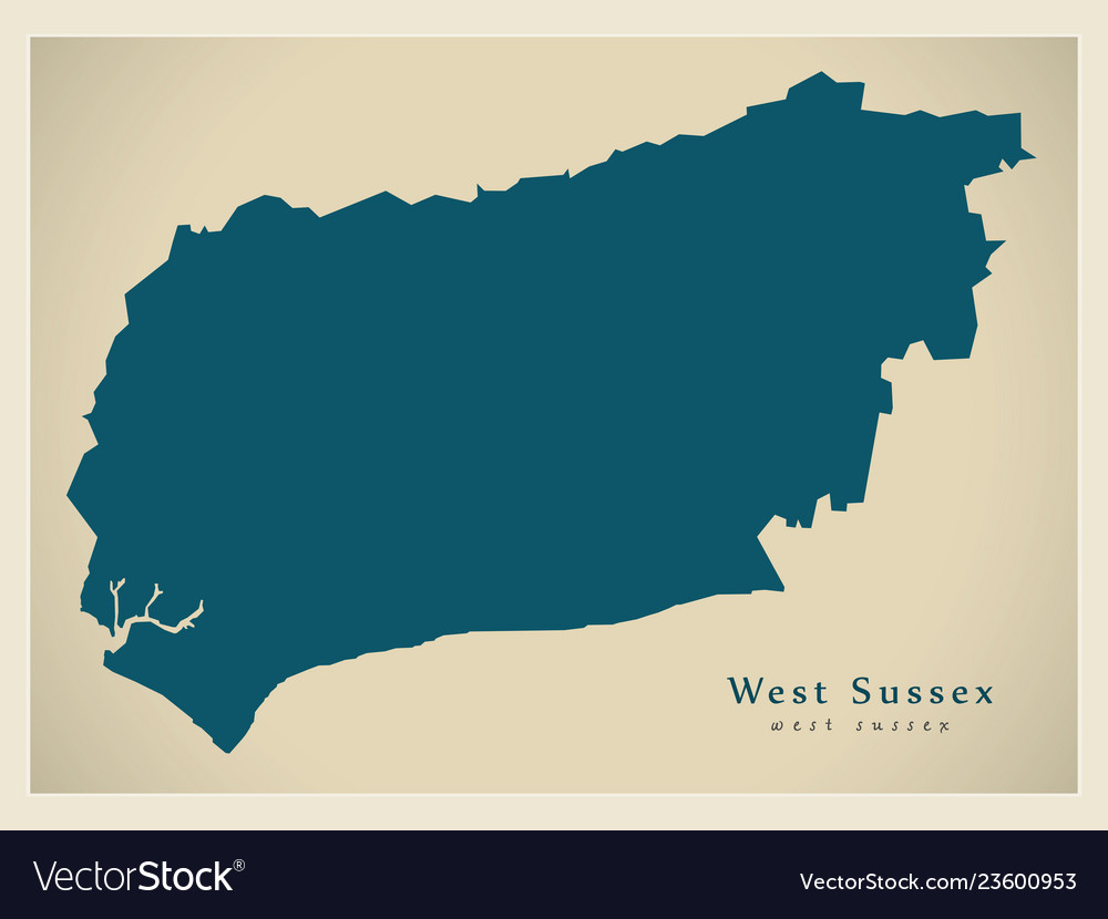 Modern Map West Sussex County England Uk Vector Image