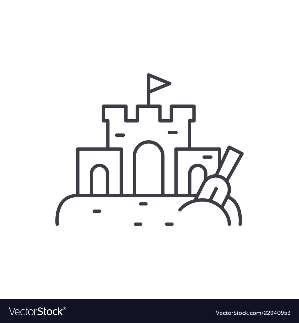 Sand castle line icon concept sand castle