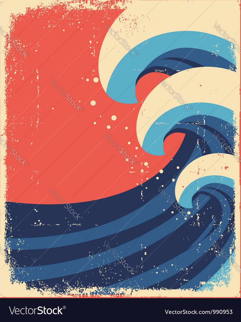 Sea waves posterGrunge of sea landscape vector image