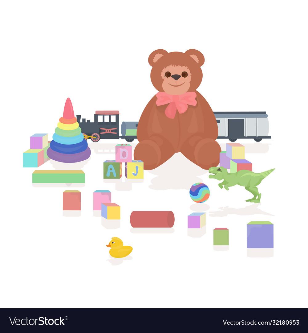 Set different kids toys childhood concept