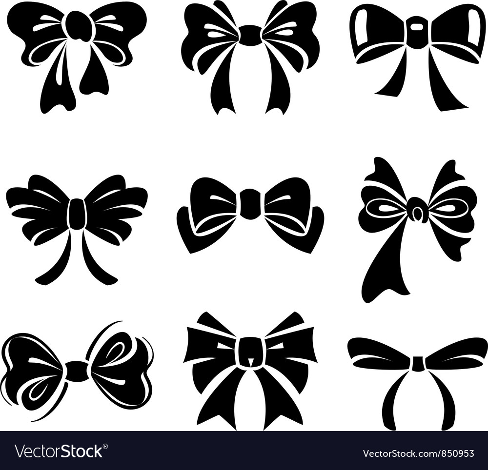 set of bow royalty free vector image vectorstock rh vectorstock com bow vector art bow vector png