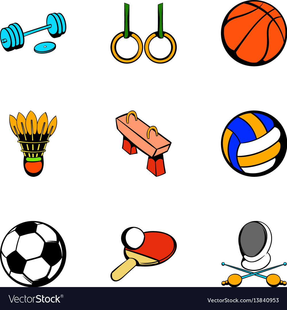 Sport things icons set cartoon style