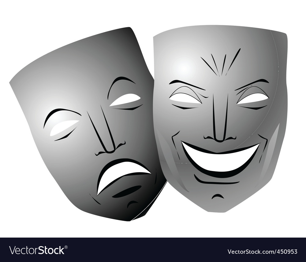 ter comedy and tragedy masks royalty free vector image