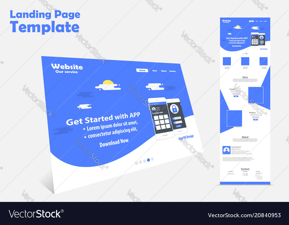 Website landing page template design vector image