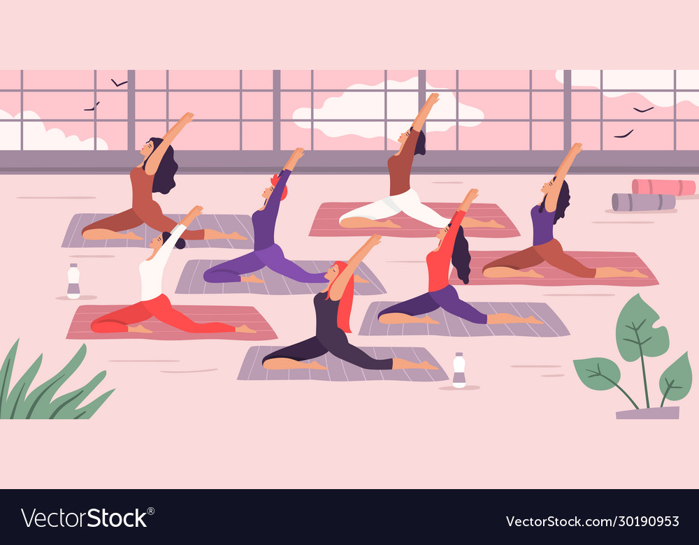 Women yoga group stretching exercise